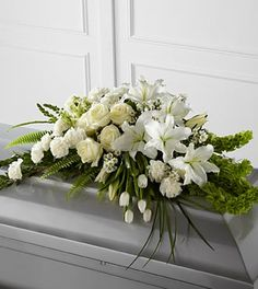 Order The Resurrection™ Casket Spray flower arrangements from All Flowered Up Too, your local Lubbock, TX florist. Send The Resurrection™ Casket Spray floral arrangement throughout Lubbock and surrounding areas. Arte Floral, Deco Floral, Church Flowers, Funeral Flowers, Funeral Floral Arrangements, Flower Arrangements, Flowers For Men, Send Flowers, Funeral Caskets