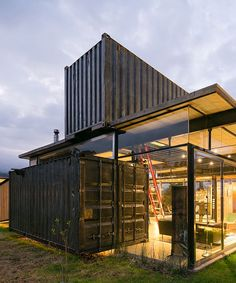 foundations were poured to supports the metal Building A Container Home, Container Cabin, Cargo Container, Container House Plans, Container Design, Container Architecture, Container Buildings, Architecture Design, Sustainable Architecture