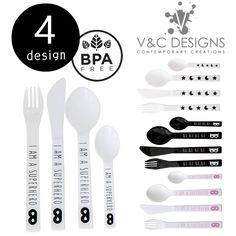 5400円以上で送料無料。キッズカトラリーセット Cutlery Set (4Set) 4デザイン by V&C Designs モノトーン 白黒 離乳食 ギフト おしゃれ キッズ 子ども プラスティック 食器