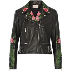 Christopher Kane Floral-embroidered leather biker jacket ($4,140) ❤ liked on Polyvore featuring outerwear, jackets, black, real leather jacket, moto jacket, 100 leather jacket, genuine leather jacket and biker jacket