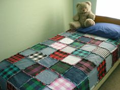 Buffalo Check Upcycled Rag Quilt by oldschoolquilts on Etsy, $150.00