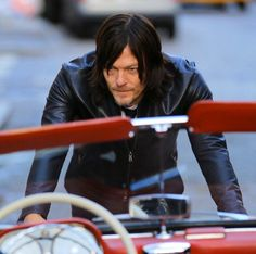 Norman Reedus posing for Mens Fitness in NYC