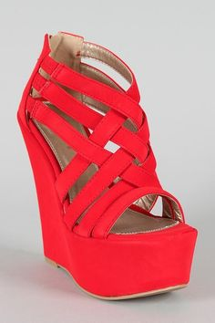 Red summer wedge shoes ...