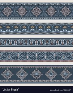 Illustration about Set of borders, frames with ancient ornaments. Illustration of borders, beige, colored - 48486389 Border Pattern, Border Print, Border Design, Pattern Design, Elements Of Art, Design Elements, Deco Paint, Border Embroidery Designs, Borders And Frames