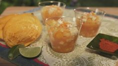 Inspired by the fruit vendors of Morelia, Mexico, Gazpacho fruit salad for #MeatlessMonday...