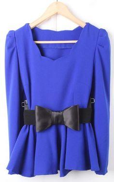 Blue Puff Sleeve Drawstring Waist Ruffles Chiffon Blouse... can't help but like.. love the blue color