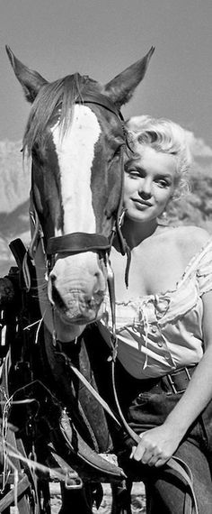 Marilyn on the set of River of No Return, 1953. (One of my favorite MM, she sang several songs in this movie). Of course TEF did a great job on the title song. He had a beautiful voice.