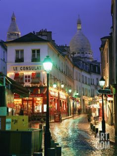 Rainy Street and Dome of the Sacre Coeur, Montmartre, Paris, France, Europe Photographic Print by Gavin Hellier at Art.com