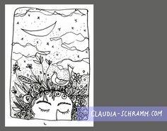 """Das Tagesbild vom 2. September zeigt die obere Hälfte eines Gesichtes. Die Person hat die Augen träumerisch geschlossen und ein Lächeln ist am unteren Bildrand angedeutet. An Stelle von Haaren oder einer Frisur """"wachsen"""" jede Menge Blüten, Blätter und Gräser auf dem Kopf und ein Vogel hat in dieser Fülle Platz genommen. Den Schnabel leicht geöffnet, schaut er nach oben, als wolle er singen. Über der Szene liegt die Monsichel, es ziehen ein paar Wolken über den Himmel und dazwischen blinken…"""