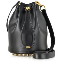 Alexander Wang Handbags Alpha Soft Black Shiny Leather Bucket Bag featuring polyvore, fashion, bags, handbags, shoulder bags, black, black studded handbag, black leather purse, black shoulder bag, black bucket bag and black purse