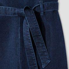 Women's Tie Waist Denim Jumpsuit Dark Wash XL - Dollhouse (Juniors'), Blue