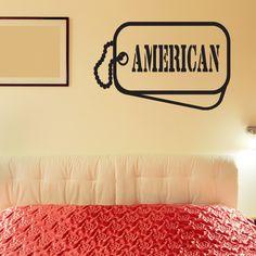 American Dog Tag Wall Decal - Vinyl Decal - Car Decal - CF005