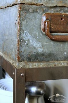 Upcycled Vintage Toolbox Shelf + Faux Rusty Tutorial