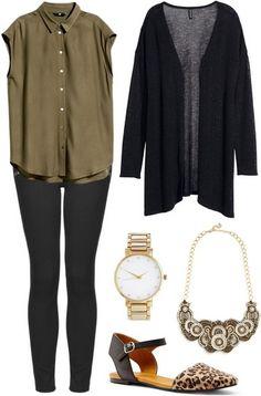 Khaki button down, dark pants, cheetah print flats and golden accessories