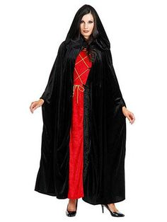 Charades Unisex-Adult's Full Length Hooded Velvet Cloak, Black, One Size Best Halloween Costumes & Dresses USA Adult Costumes, Halloween Costumes, Dracula Costume, Witch Outfit, Hooded Cloak, Black Cape, Unisex Baby Clothes, Costume Accessories, Jacket Dress