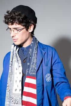 Worker vest $738 Indigo blue shirt $468 Shop coat $899 Patch scarf $368 New York hat $398