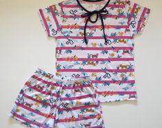 Pijama feminino infantil estampado - Malha Poliester/Viscose