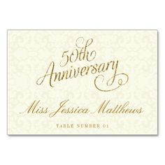 50th Golden Wedding Anniversary Place Cards