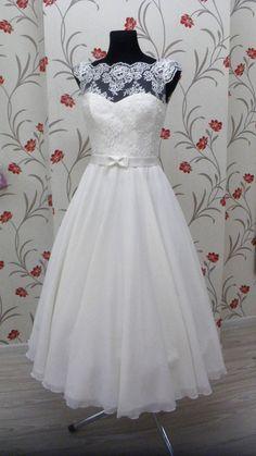 Vintage Inspired Tea Length Wedding Dress with by TashaMertene