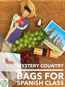Mystery country bags- let's play detective! Culture Activity for Spanish Class