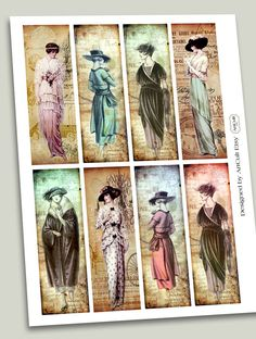 DOLLED UP - Bookmarks Digital Collage Sheet Printable Vintage Paper Craft Fashion Tags Jewelry Holders. $4.60, via Etsy.