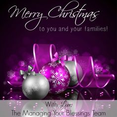 Merry Christmas to you from the Managing Your Blessings Team! :: We pray that as you unwrap the gift of the precious birth of our Savior, Jesus Christ, that your hearts are filled with the richest of fare. :: Managing Your Blessings