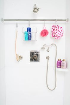 Use a tension rod to organize and declutter your shower.