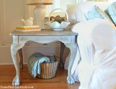 Whoa, I have these EXACT same tables sitting in my garage waiting to be refinished! Can't believe I stumbled on this inspiration! (annie chalk paint paris gray end table by Home Stories A2Z)