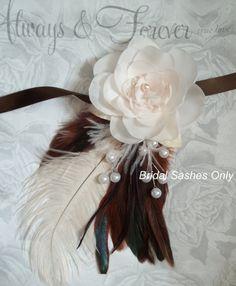 Bridal Wedding Sash - High Couture, Ivory, White Pearls,Flower and feathers bridal sash Bridal Belt