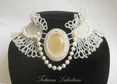 """Necklace-front """"CRIS"""" – shop online on Livemaster with shipping - BIPTCOM Beading Patterns Free, Free Pattern, Beaded Choker, Beaded Embroidery, Bridal Jewelry, Seed Beads, Weaving, Chokers, Knitting"""