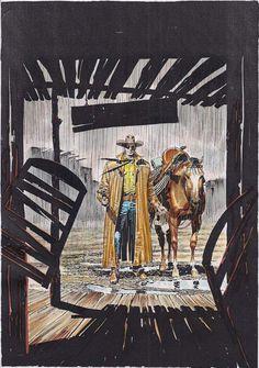 Ilustração original de Claudio Villa para o mini-póster de Tex Nuova Ristampa 394