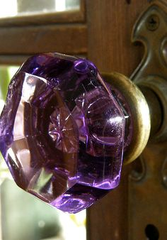 Beautiful vintage violet colored glass door knob.