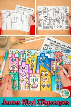 James Rizzi Cityscape Art Game Learn art history while creating a James Rizzi cityscape. Fill up your art sub plan folder with no-prep, Pop Art projects that are easy to implement for kids. Art Sub Plans, Art Lesson Plans, Easy Art Projects, Projects For Kids, James Rizzi, Arte Elemental, Sunset Overdrive, Cityscape Art, Ecole Art
