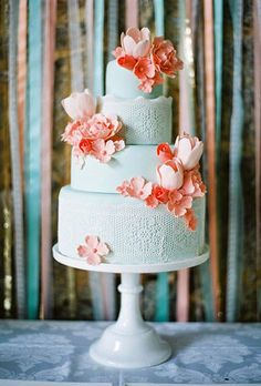 Four-Tier Mint and Coral Pink Wedding Cake with Sugar Tulips and Roses | Brides.com
