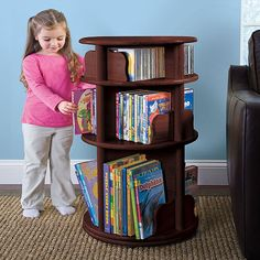 This bookshelf is fun and keeps the books and movies organized.
