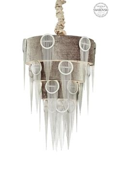 Belt Collection Hand made Iron Chandelier . Metal rings with steel chains and Swarovski crystals embedded Anthracite Velvet Shade #eurolampart #light #lighting #chandelier #luxurylight #luxurylife #homecollection  www.eurolampart.it