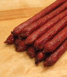I've not had beef sticks in a while - and they sure hit the spot. Perhaps it was the junk-food devil part of my period acting out. Homemade Summer Sausage, Homemade Sausage Recipes, Smoked Meat Recipes, Smoked Beef, Jerky Recipes, Beef Recipes, Lassi, Beef Sticks Recipe, Chorizo