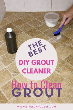 [BEST] DIY Grout Cleaner - How to clean grout. Find out how to clean tile grout on your floor, shower or walls. Easy and simple homemade cleaner with baking soda and hydrogen peroxide. Time to get your kitchen and bathroom looking clean again! Homemade Grout Cleaner, Tile Grout Cleaner, Clean Tile Grout, Shower Cleaner, Cleaners Homemade, Household Cleaning Tips, House Cleaning Tips, Diy Cleaning Products, Cleaning Hacks