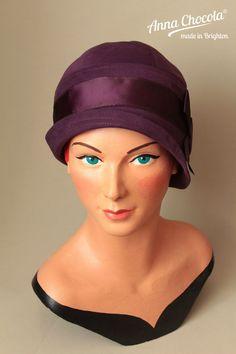 1920s 30s FLAPPER CLOCHE HAT M/L Aubergine PURPLE cotton BOW retro Anna Chocola