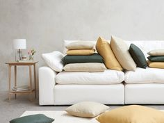 Cuddlemuffin modular sofa in Oyster White clever linen Scatter Cushions, Cushions On Sofa, Modular Sofa Uk, Deep Couch, White Sofas, Sectional Sofa, Love Seat, Colours, Living Room