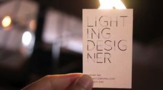 Words 'magically' appear on business card for lighting designer when it is exposed to light - design by GOVT