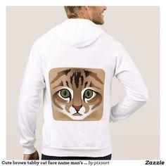 Cute brown tabby cat face name man's hoodie