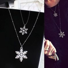 2015 New Year Christmas Gift Fashion Luxury Long 2 Layer Snowflake Sweater Necklaces Pendants Silver Gold Women Jewelry