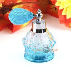 Vintage Crystal Perfume Bottle Blue Short Spray Atomizer Refillable Glass 80ml