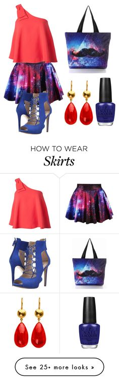 """""""Starry Eyed - Skirt under $50"""" by leah3000 on Polyvore featuring Saloni, GUESS, OPI, under50 and skirtunder50"""