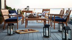Crate and Barrel Regatta Lounge Set.  I see this on the roof deck of my summer home....by the lake.  You can't see my boat because it's docked on the other side :)