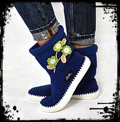 Crochet Boots Crochet Knitted Shoes adult Outdoor Boots for the Street Folk Tribal Boho s hippie Made to Order pattern crochet cuffs Crochet Boots, Crochet Slippers, Knit Crochet, Flip Flop Sandals, Flip Flops, Shoes Sandals, Wool Socks, Slipper Socks, Crochet Designs