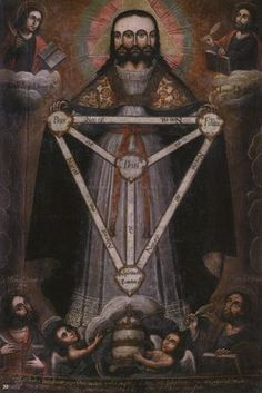 Tri-Facial Trinity by Anonymous.  Such a strange pseudo-Illuminati portrayal of Jesus and the Holy Trinity.  Apparently these were popular during the the 16th and 17th century.