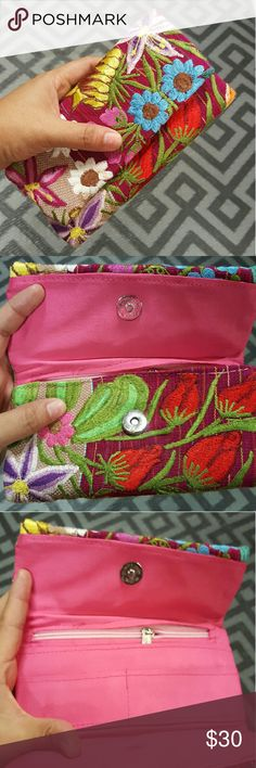 New Embroidered Wallet Floral Colorful from Mexico One of a kind, very colorful, floral embroidery, handcrafted in Chiapas, Mexico by Mexican native artisans. Interior sis made of fabric, with Zippered compartment and card compartments. Snap closure.    Support Mexican artisans and give something really unique! I have 6 different wallets like this, I'll be posting them this week.   New, no tags. Cielito Lindo  Bags Wallets