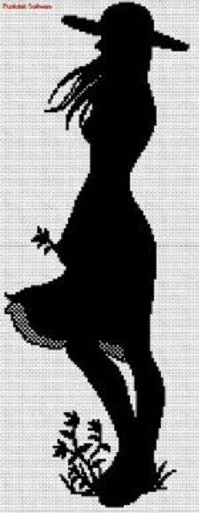 0 point de croix monochrome fille dans le vent - cross stitch girl in the wind